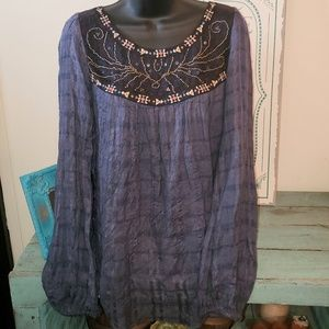 Free People XS Blue Embroidered Beaded Boho Top